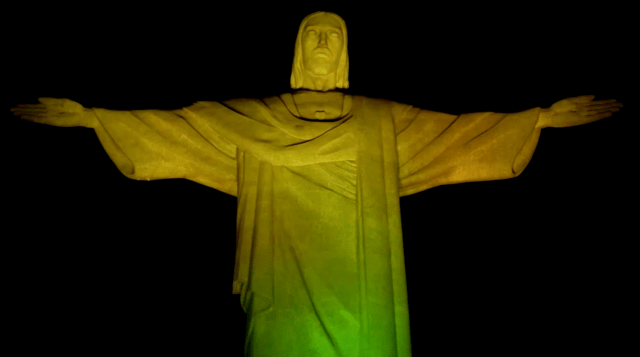 Christ the Redeemer lit up in yellow and green to pay tribute to Pele on his 80th birthday