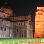 Leaning tower of Pisa lit in orange for the United Nations International Day for the Elimination of Violence Against Women