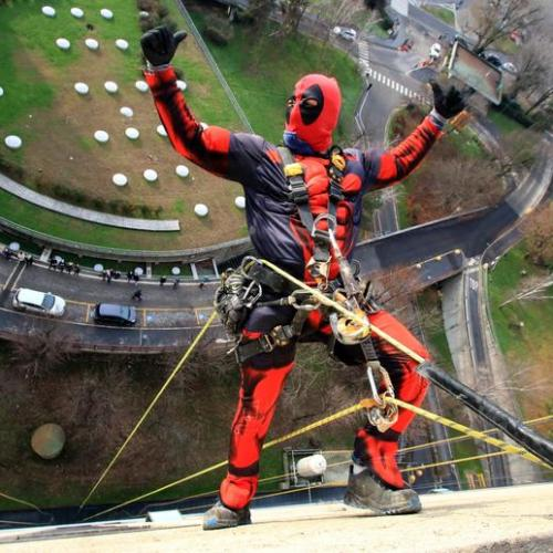 Photo Story: Superheroes rappel down hospital roof to greet children in Italy