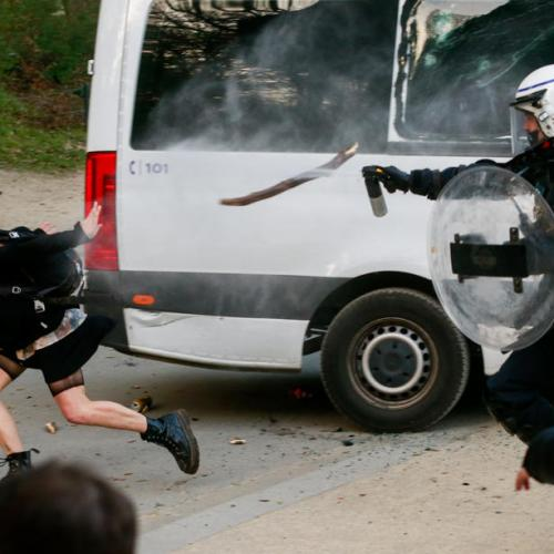 In Pictures – Police disperse thousands at Belgian April Fool party