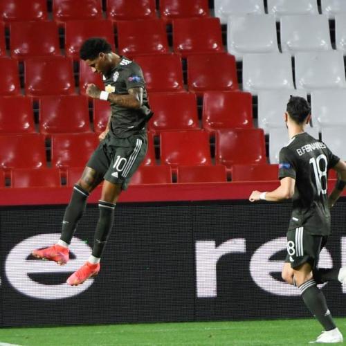 Rashford and Fernandes give United one foot in Europa semis