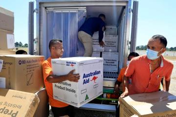 Photo Story – Covid19 vaccines from Australia arrive in Dili