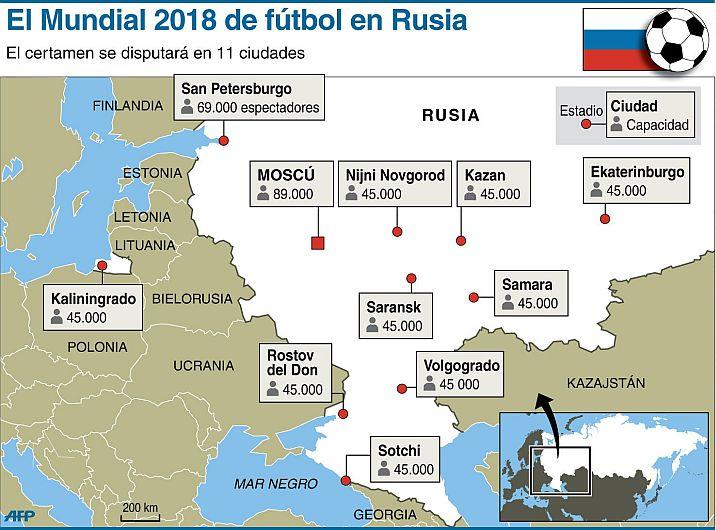 Resultado de imagen de mapa de los estadios del mundial de rusia
