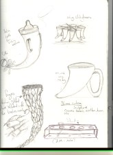 I thought about humourous types of cups and ways we use current cups combined with the old. I also thought about how we used to cup our hands to drink water so i thought about faceting interlocking fingers around the horn.