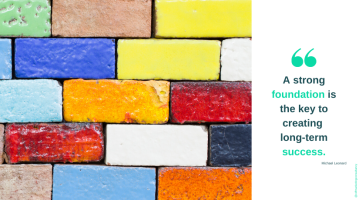 """Multicoloured brick wall beside a quote saying """"A strong foundation is the key to creating long-term success""""."""