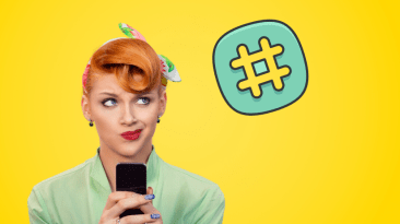 Illustration of a hashtag with a woman looking confused whilst holding a mobile phone