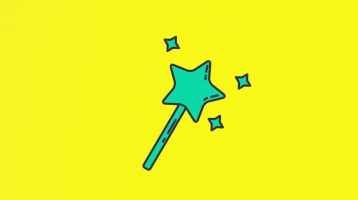 Illustration of a green magic wand against a yellow background