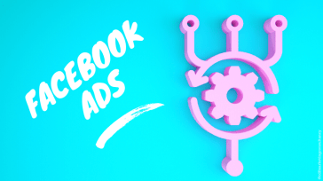 Illustration of pink pixel on blue background with text saying 'Facebook Ads'
