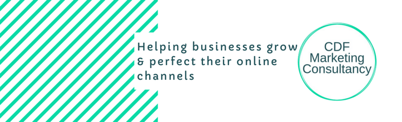 CDF Marketing Consultancy logo beside the text 'Helping businesses grow & perfect their online channels'.