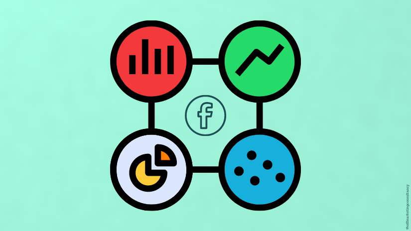Illustrations of metrics and Facebook logo on a green background.