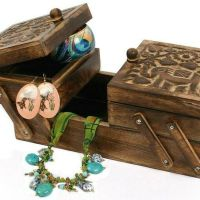 Handmade and Carved Sewing Boxes