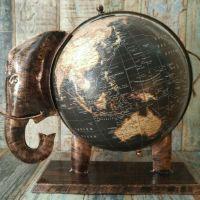 Recycled Iron Elephant Map Globes