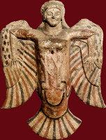 Sirène Date : Vers 520 avant JC Technique/matière : Plaque d'applique décorative, céramique à rehauts de peinture
