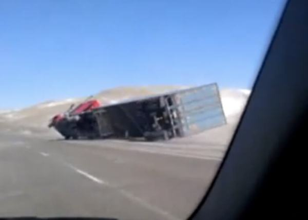 Wind Knocks Over Truck In Wyoming