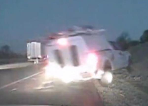 Airborne Truck Nearly Misses Trooper