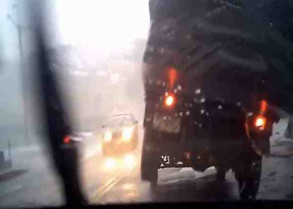 VIDEO: Strong Winds Nearly Topple Truck