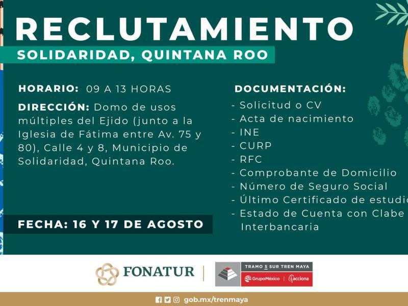 Se realizara en Solidaridad socializacion del proyecto del Tren Maya