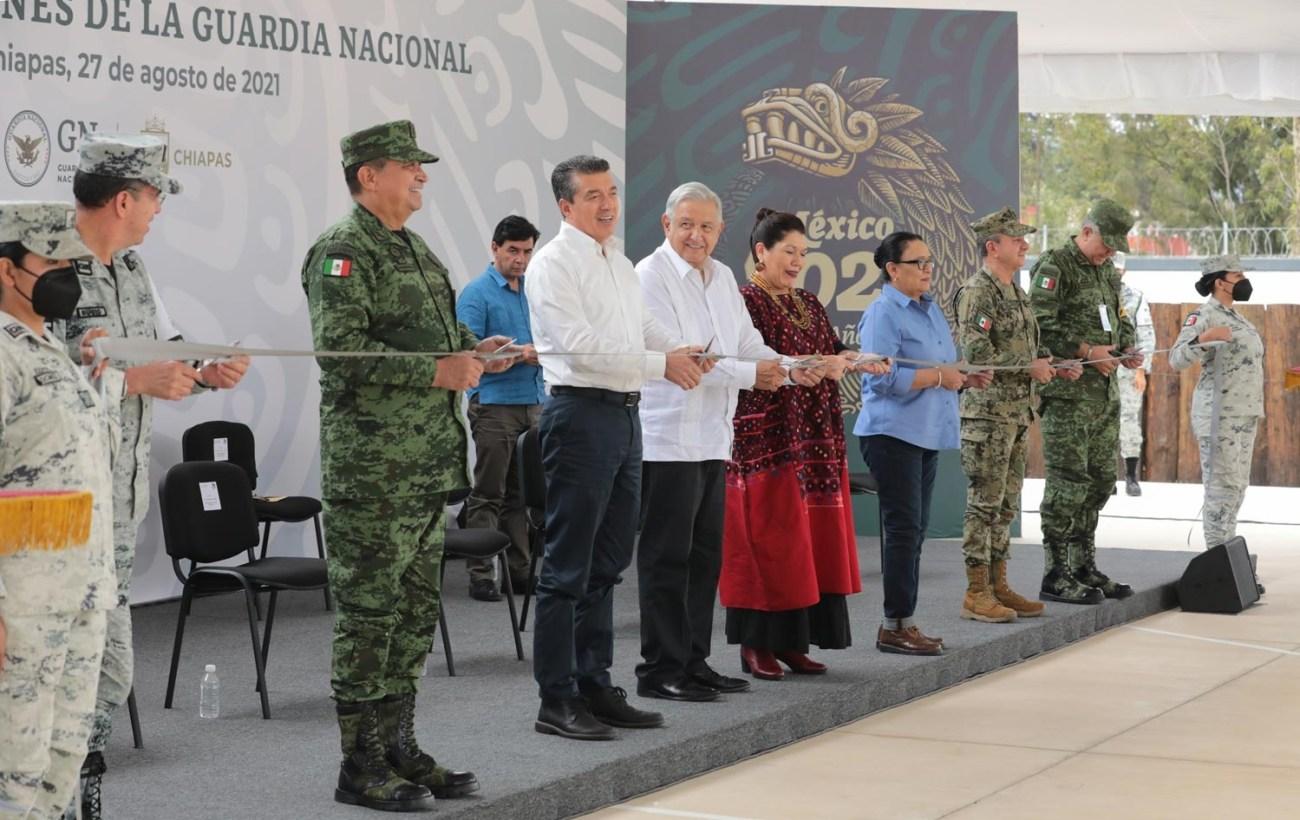 Seguridad se ha logrado con respeto a los derechos humanos Lopez Obrador inaugura cuartel de la GN en Chiapas