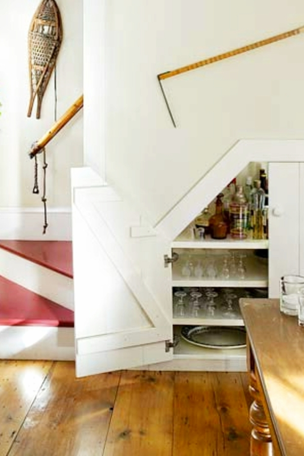 Under Stairs Storage Ideas Storage Solutions Using Space Under | Small Kitchen Design Under Stairs | Stair Storage | Dining Room | Basement Kitchenette | Space Saving | Small Spaces