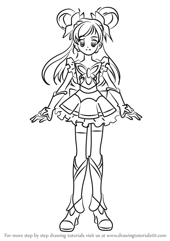 Step by Step How to Draw Cure Dream from Pretty Cure
