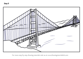 Step by Step How to Draw The Golden Gate Bridge ...