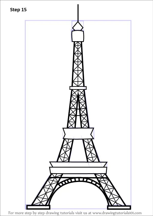 Simple Eiffel Tower Drawing : simple, eiffel, tower, drawing, Eiffel, Tower, DrawingTutorials101.com