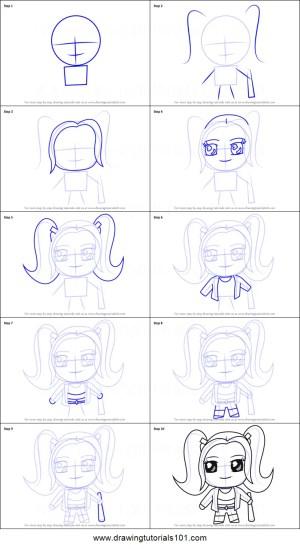 quinn harley draw kawaii step drawing printable drawingtutorials101