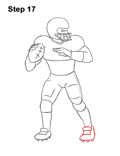 Football Player Drawing Easy : football, player, drawing, Football, Player, (Quarterback), VIDEO, Step-by-Step, Pictures