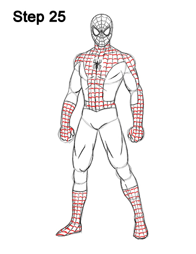 Spider Man Suit Drawing : spider, drawing, Spider-Man, (Full, Body)