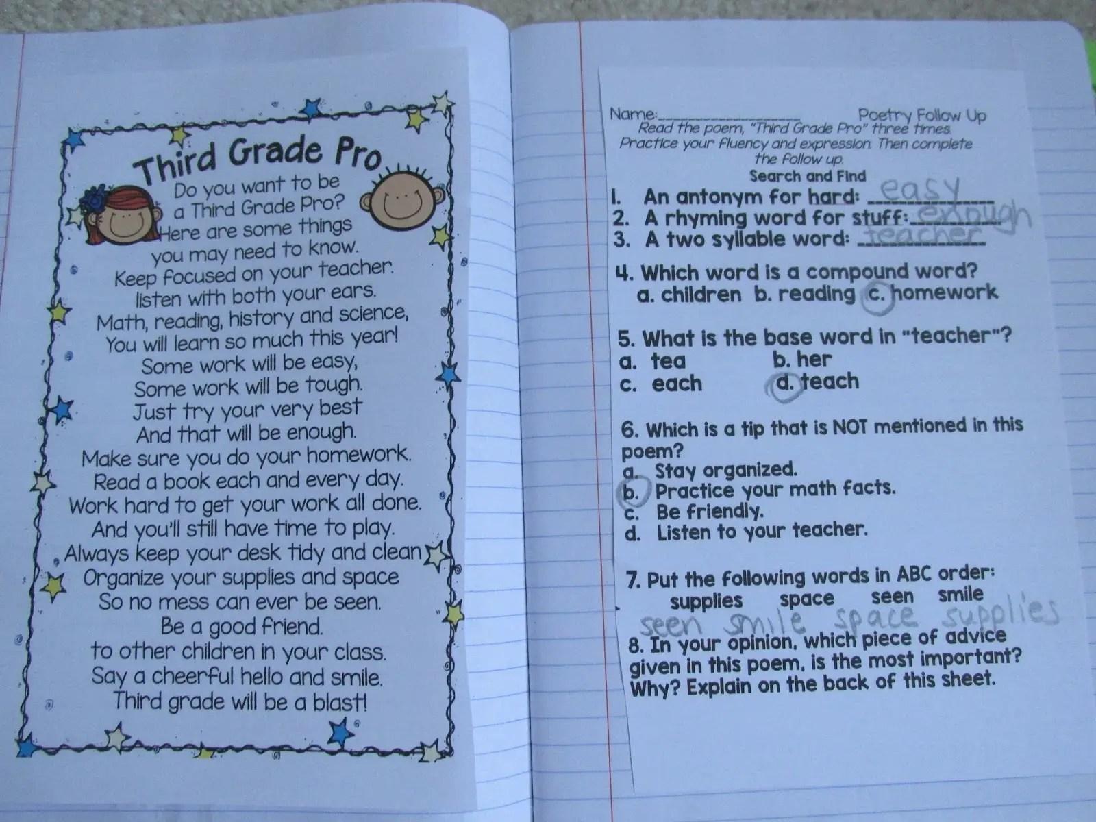 hight resolution of Third grade Poems
