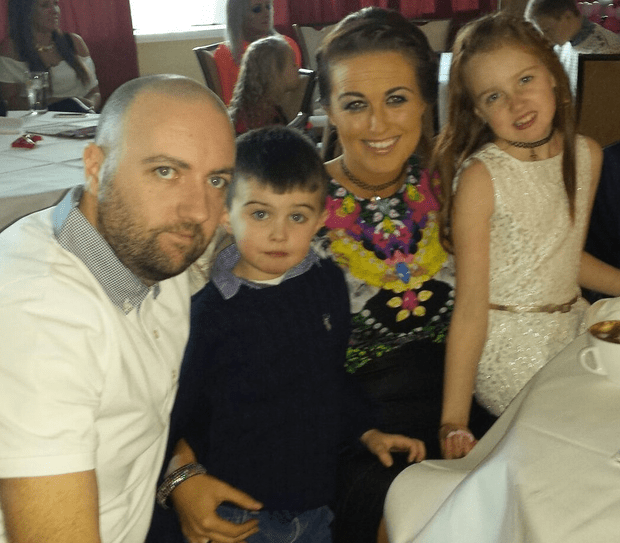 Michelle Lynch at home with daughter Emma, son Jamie and husband Eamonn