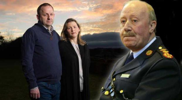 Garda Sgt Maurice McCabe with his wife Lorraine (left), and former garda commissioner Martin Callinan. Photo: Barry Cronin