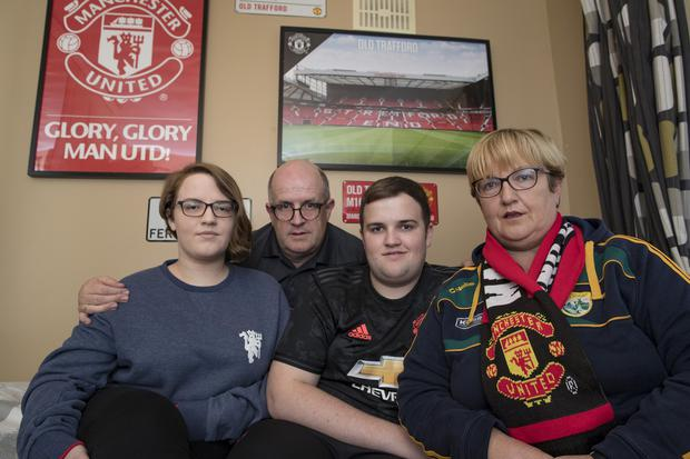 23/9/19 Claire and Thomas Ralph with son Sean age 19 and daughter Katie, 21, who had booked a trip to see a Manchester United game on St Stephen's day with Thomas Cook. Picture: Arthur Carron