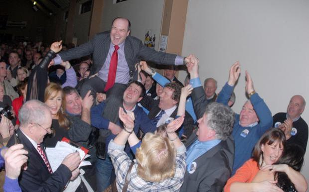 Denis Naughten celebrates his re-election to the Dáil in Roscommon/South Leitrim in 2011. Photo: Mick McCormack