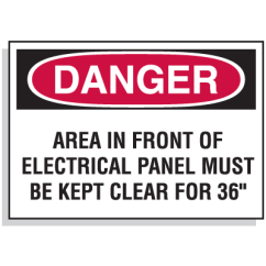 Electrical Panel Hazards Symbols And Wiring Diagrams Lockout Hazard Warning Labels Area In Front Of Danger Must Be Kept Clear