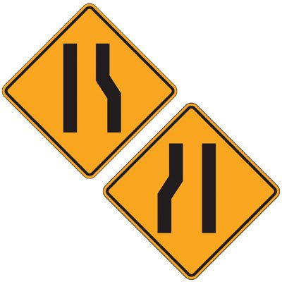 reflective warning signs merging