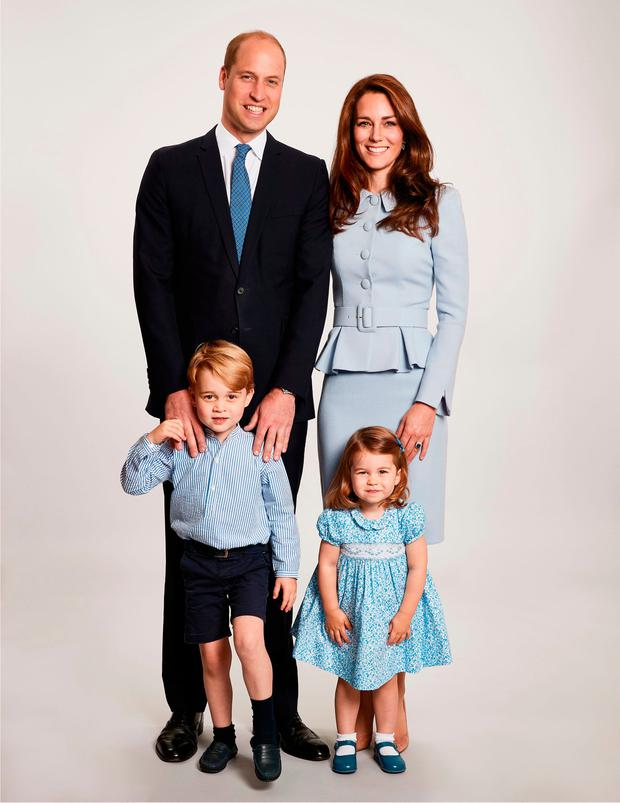 The picture used on the Duke and Duchess of Cambridge's 2017 Christmas card which was taken by Getty Images royal photographer Chris Jackson at Kensington Palace showing the royal couple with their children Prince George and Princess Charlotte