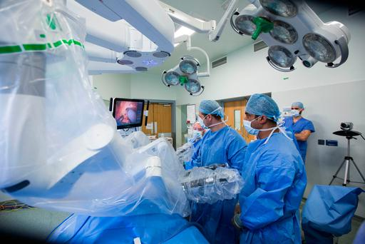 UL Hospitals Group live-streams robotic surgery from the University Hospital Limerick operating room to its clinical education and research centre. Photo: Sean Curtin/True Media