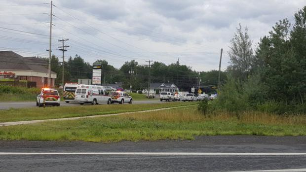 Emergency vehicles are seen at the Brookside Drive area in Fredericton in Canada, where at least four people have been killedPhoto: Kev Bourque/via REUTERS