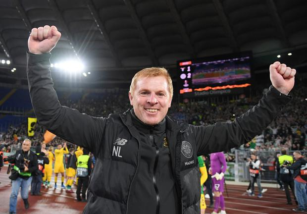 Celtic manager Neil Lennon celebrates at the end of the match. Photo: REUTERS/Alberto Lingria