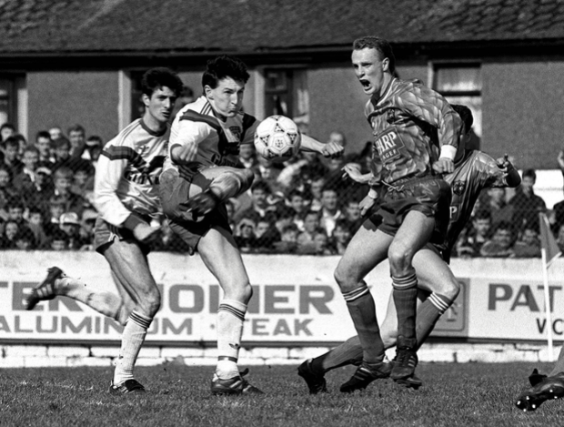 John Caulfield, pictured in action (c) for Cork City against Dundalk's James Coll at Turner's Cross back in 1991.