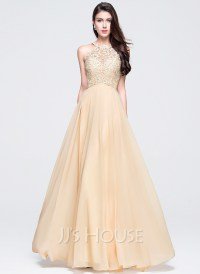 A-Line/Princess Scoop Neck Floor-Length Chiffon Prom ...