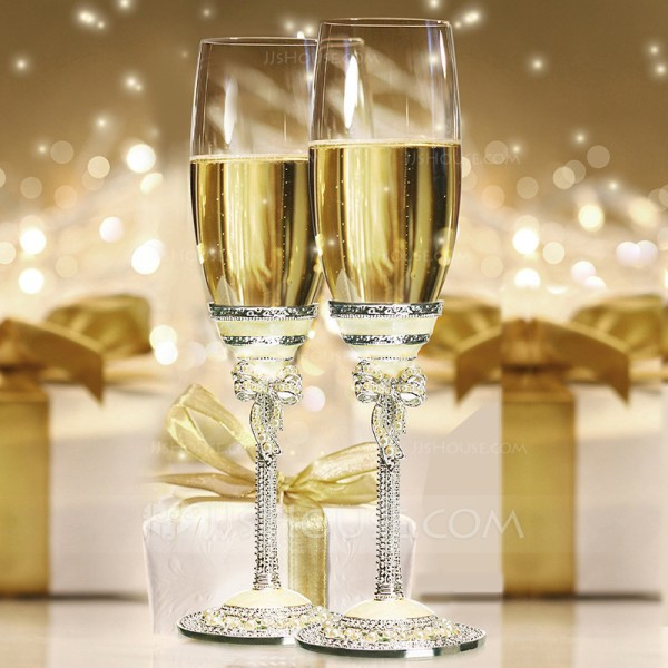 Personalized Classic Toasting Flutes With Rhinestone Faux
