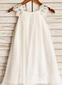 A-Line/Princess Tea-length Flower Girl Dress - Chiffon ...