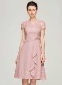 A-Line/Princess Scoop Neck Knee-Length Chiffon Lace Mother ...
