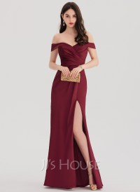 Sheath/Column Off-the-Shoulder Floor-Length Satin Prom ...