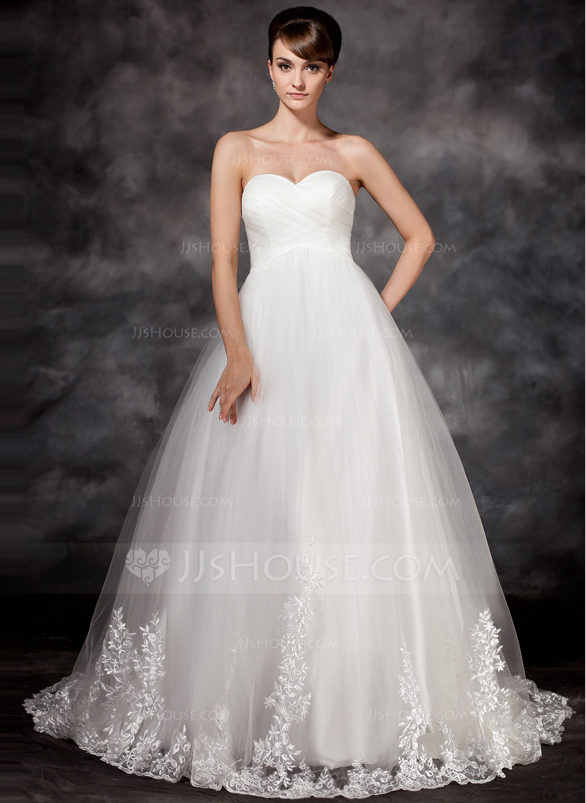 Empire Sweetheart Court Train Tulle Wedding Dress With