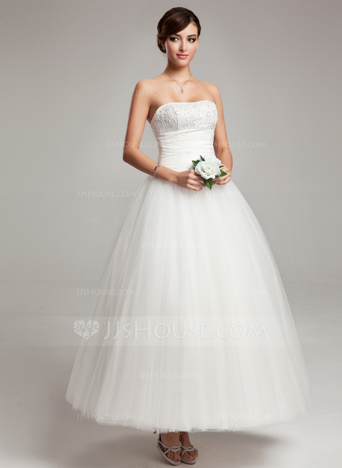 Ball Gown Sweetheart Ankle Length Chiffon Tulle Wedding