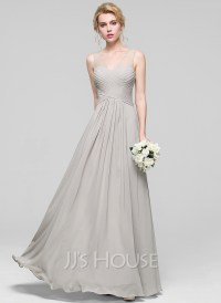 A-Line/Princess V-neck Floor-Length Chiffon Bridesmaid ...