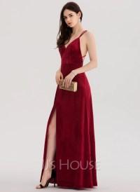 A-Line/Princess V-neck Floor-Length Velvet Prom Dresses ...